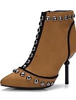 abordables -Femme Chaussures Flocage Hiver Automne Confort Bottes Talon Aiguille Bout pointu Rivet Pour Noir Marron