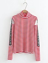 Women's Casual/Daily Cute Spring Fall T-shirt,Striped Letter Turtleneck Long Sleeves Cotton Thin Medium