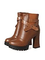 Da donna Scarpe Materiali personalizzati Inverno Stivali Anfibi Stivaletti Quadrato Heel di blocco Punta tonda Punta chiusa Stivali metà
