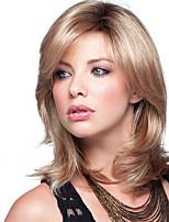 Femme Perruque Synthétique Sans bonnet Mi Longue Ondulés Noir / Blond Fraise Cheveux Colorés Racines foncées Avec Frange Perruque