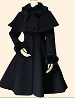 Coat Cloak Sweet Lolita Vintage Inspired Princess Cosplay Lolita Dress Cyan Black Solid Long Sleeves Cloak Top For Flannel Fabric