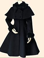 Mantel Umhang Niedlich Vintage Inspirationen Prinzessin Cosplay Lolita Kleider Schwarz Türkis einfarbig Langarm Umhang Top Zum Flanell
