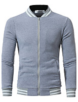 Men's Going out Casual/Daily Simple Sexy Sweatshirt Color Block Stand Micro-elastic Cotton Long Sleeve Spring Fall