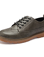 Men's Shoes Leatherette Spring Fall Formal Shoes Comfort Oxfords Lace-up For Casual Office & Career Brown Yellow Gray Black
