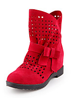 Women's Shoes Leatherette Summer Winter Comfort Slouch Boots Boots Low Heel Round Toe Booties/Ankle Boots Bowknot For Casual Dress Red