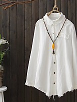 Women's Going out Casual/Daily Simple Street chic Spring Fall Shirt,Solid Shirt Collar Long Sleeves Cotton Thin Medium