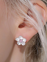 Women's Stud Earrings AAA Cubic Zirconia Cute Style Floral Silver Zircon Flower Jewelry For Wedding Party