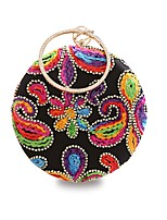 Women Bags All Seasons Polyester Evening Bag Crystal Detailing Embroidery for Event/Party Black