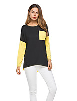 Women's Going out Street chic Active T-shirt,Color Block Round Neck Long Sleeves Cotton Medium