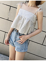 Women's Holiday Going out Sexy Cute Spring Summer Tank Top,Striped Strap Sleeveless Others Medium