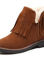 Women's Shoes PU Winter Snow Boots Boots Flat Heel Round Toe Booties/Ankle Boots Tassel(s) For Casual Khaki Brown Black