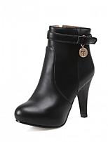 Feminino Sapatos Courino Outono Inverno Curta/Ankle Conforto Inovador Botas Salto Agulha Ponta Redonda Botas Curtas / Ankle Ziper Para
