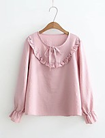 Women's Going out Casual/Daily Cute Spring Fall Shirt,Solid Round Neck Long Sleeves Cotton Others Thin Medium