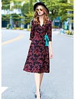 Damer I-byen-tøj Skede Kjole Trykt mønster,V-hals Midi 3/4-ærmer Polyester Efterår Alm. taljede Mikroelastisk Medium