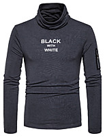 Men's Going out Casual/Daily Simple Regular Pullover,Solid Cowl Neck Long Sleeves Cotton Fall Winter Medium Stretchy