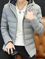 Men's Regular Padded Coat,Simple Street chic Going out Casual/Daily Solid-Polyester Cotton Long Sleeves