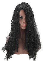Women Synthetic Wig Capless Long Loose Wave Jheri Curl Black For Black Women Natural Hairline Layered Haircut Party Wig Halloween Wig
