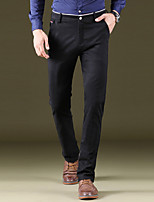 Men's Mid Rise Micro-elastic Chinos PantsSimple Straight Solid DC-986