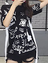 T-shirt Da donna Per uscire Moda città Estate,Con stampe Rotonda Cotone Manica corta Opaco