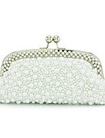 Women Bags All Seasons PU Shoulder Bag Beading for Wedding Event/Party White Black Milky White