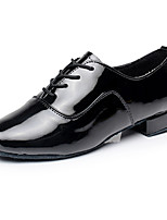 Men's Latin Leatherette Heel Performance Low Heel Black White Customizable