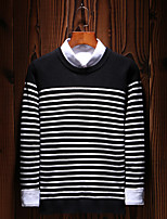 Men's Casual/Daily Work Simple Boho Street chic Regular Pullover,Striped Print Color Block Round Neck Long Sleeves Cotton Fall Winter