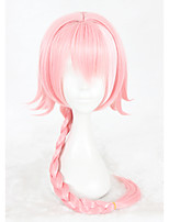 Women Synthetic Wig Capless Long Straight Pink Braided Wig Cosplay Wig Costume Wig