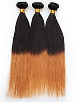 vierge Cheveux Brésiliens A Ombre Raide Extensions de cheveux 3 Noir / Medium Auburn