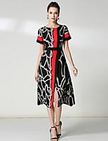 Damen A-Linie Hülle Kleid-Ausgehen Lässig/Alltäglich Einfach Street Schick Anspruchsvoll Druck Rundhalsausschnitt Midi Kurzarm Polyester