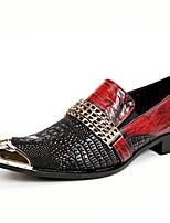 Da uomo Scarpe Nappa Autunno Inverno Scarpe formali Mocassini e Slip-Ons Punta metallica Per Casual Serata e festa Rosso