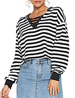 Women's Going out Casual/Daily Sexy Simple T-shirt,Solid Round Neck Long Sleeves Polyester