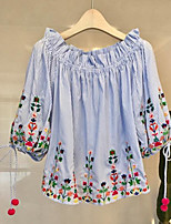 Women's Going out Casual/Daily Cute Summer Fall Shirt,Embroidery Boat Neck Half Sleeves Cotton Linen Medium