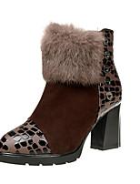Mujer Zapatos Tejido Otoño Invierno Confort Botas Tacón Robusto Botines/Hasta el Tobillo Cremallera Para Casual Negro Rojo Morrón Oscuro