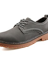 Men's Shoes Leather Spring Fall Comfort Oxfords Lace-up For Casual Brown Gray Black