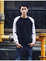 Men's Going out Sweatshirt Color Block Round Neck Micro-elastic Cotton Polyester Long Sleeve Fall