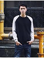Sweatshirt Homme Sortie Couleur Pleine Col Arrondi Micro-élastique Coton Polyester Manches longues Automne