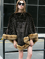 Women's Going out Casual/Daily Work Simple Active Fall Winter Fur Coat,Striped Shawl Lapel Long Sleeve Long Faux Fur Raccoon Fur