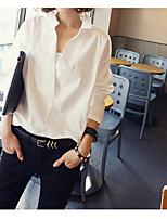 Для женщин На выход Рубашка V-образный вырез,Секси Однотонный Длинный рукав,Хлопок