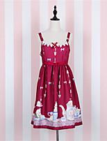 Einteilig/Kleid Niedlich Blumen Elegant Prinzessin Muster-Kleid Cosplay Lolita Kleider Weiß Blau Rot Kaffee Türkis Modisch Druck Kurzarm