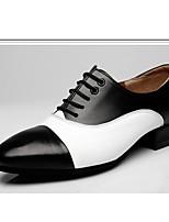 Da uomo Danza moderna Pelle Stringate All'aperto A fantasia Quadrato Bianco-nero Marrone/Bianco 2,5 - 4,5 cm