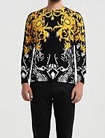 Standard Pullover Da uomo-Taglie forti Monocolore Rotonda Manica lunga Altro Primavera Medio spessore Media elasticità