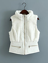 Women's Sports Casual/Daily Simple Spring Fall Fur Coat,Solid Round Neck Sleeveless Regular Cotton Others