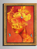E-HOME® Framed Canvas Art A Woman Like  Flower Framed Canvas Print One Pcs