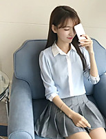 Women's Going out Casual/Daily Sexy Simple Street chic Spring Fall Shirt,Solid Color Block Shirt Collar Long Sleeves Cotton Others Thin