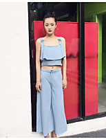 Women's Going out Vintage Summer Tank Top Pant Suits,Solid Strap Sleeveless