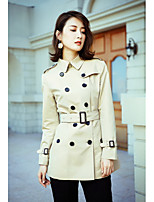 Women's Going out Street chic Winter Trench Coat,Solid Shirt Collar Long Sleeve Regular Cotton