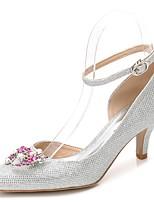 Femme Chaussures Paillette Printemps Automne Escarpin Basique Bride de Cheville Chaussures de mariage Talon Cône Bout pointu Strass