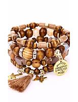 Homme Femme Bracelets Bracelets de rive Hip-Hop Vintage Bois Alliage Forme Géométrique Bijoux Pour Soirée Plein Air