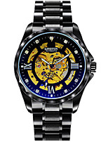 Men's Mechanical Watch Automatic self-winding Noctilucent Alloy Band Vintage Black