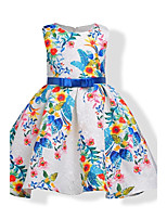 Girl's Birthday Casual/Daily Holiday Floral Print Jacquard Dress,Cotton Fall All Seasons Sleeveless
